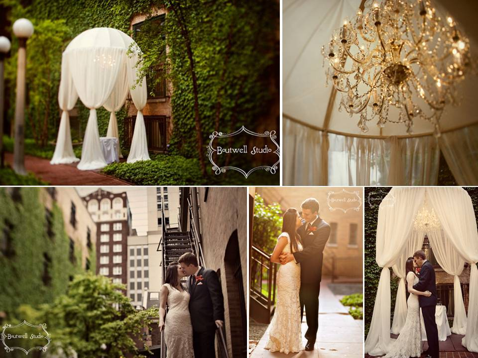 outdoor Chicago wedding venue covered in ivy