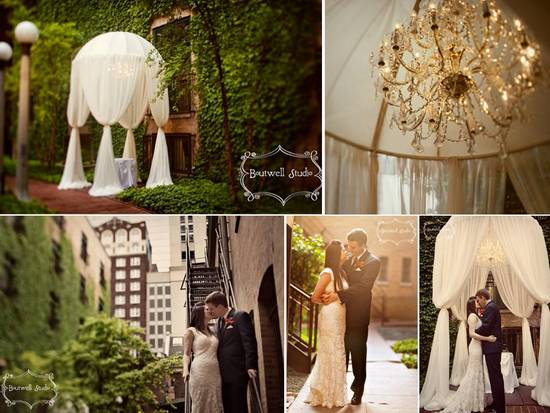 Stunning outdoor Chicago wedding venue covered in ivy