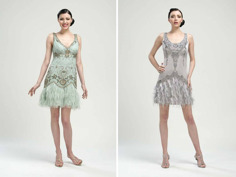 1920 S Inspired Bridesmaids Dresses In Pale Blue And Slate Grey By Sue Wong