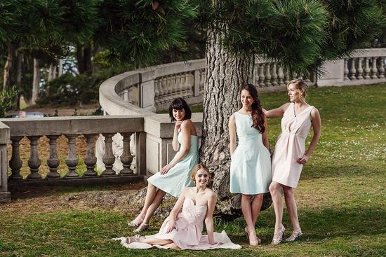 photo of Blush and mint bridesmaids dresses by Weddington Way