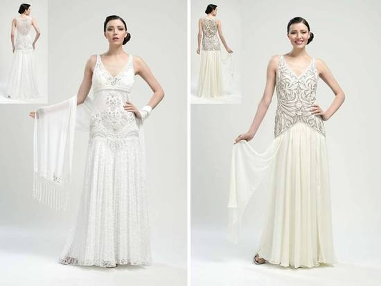 V-neck drop-waist 2011 wedding dresses with ornate beading and embroidery