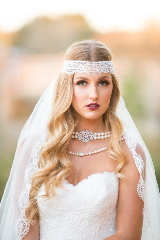 Vintage bride makeup and accessories