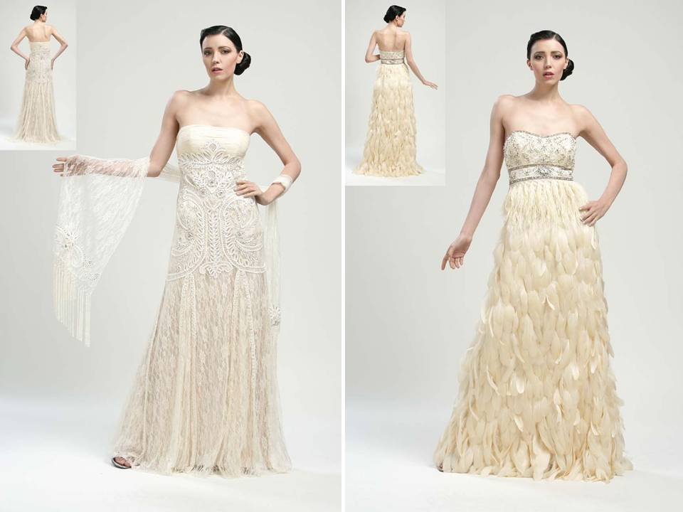 Vintage-inspired strapless beaded wedding dresses with modified a ...