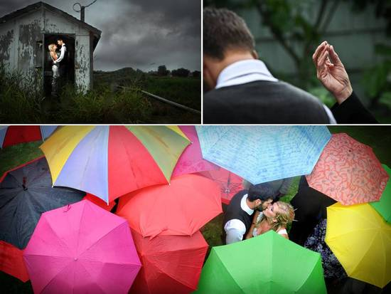 Colorful umbrellas for outdoor rainy wedding help to create gorgeous wedding photos