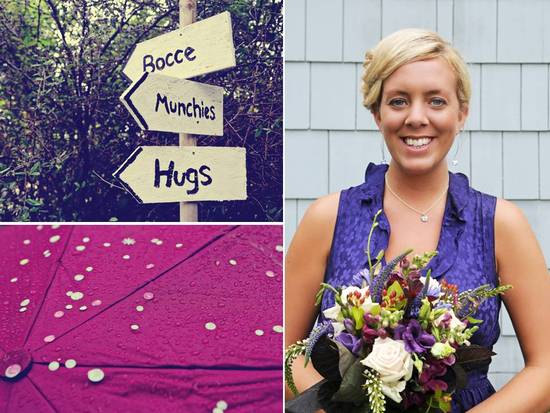 DIY wedding signs, vibrant umbrellas and a gorgeous statement floral bouquet