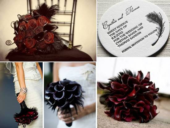 photo of Dark red and black feather bridal bouqets; letterpress save-the-dates