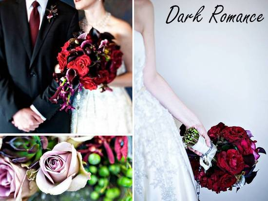 Deep red rose and black feather bridal bouqeuets