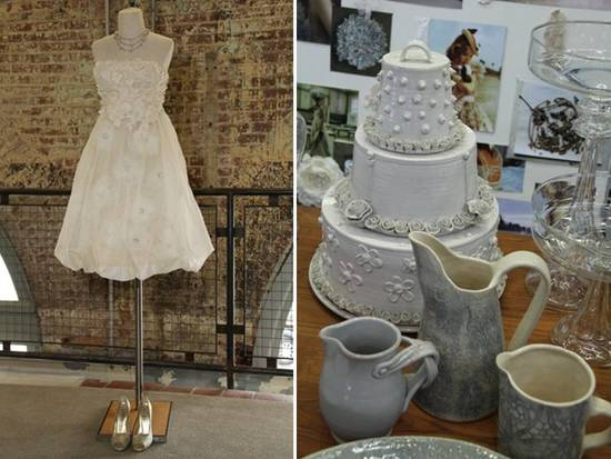 Short ivory wedding reception dress, lovely vintage-inspired cake toppers