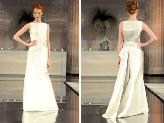 Sleek 2011 wedding dress with modified mermaid silhouette and bateua neckline