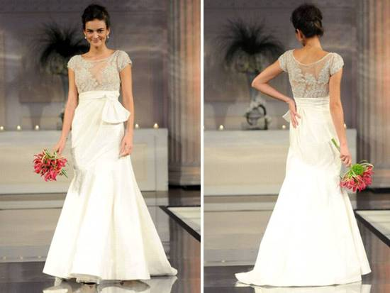drop waist ivory 2011 wedding dress with jeweled bodice and cap sleeves