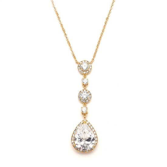 Gold Bridal Necklace with Pear-shaped CZ Drop