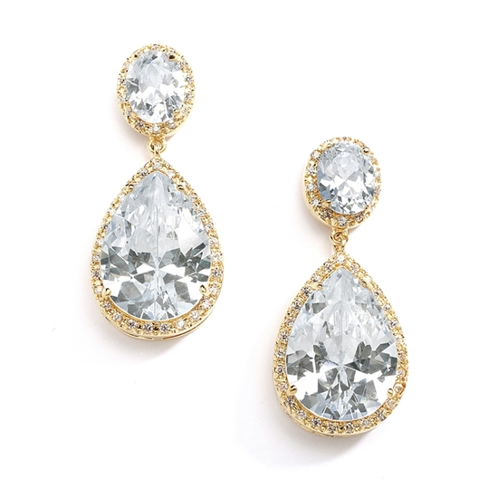 Gold CZ Pear-Shaped Drop Bridal Earrings
