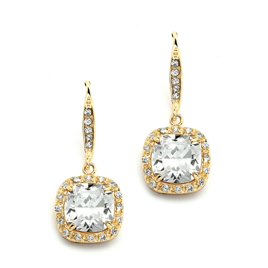 Magnificent Cushion Cut Cubic Zirconia Wedding or Pageant Earrings in 14K Gold