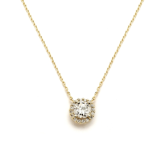 Delicate Cubic Zirconia Gold Pave Bridal Necklace