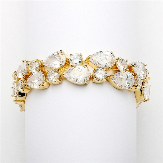 Red Carpet Bold CZ Pears Bridal Statement Bracelet in 14K Gold Plating