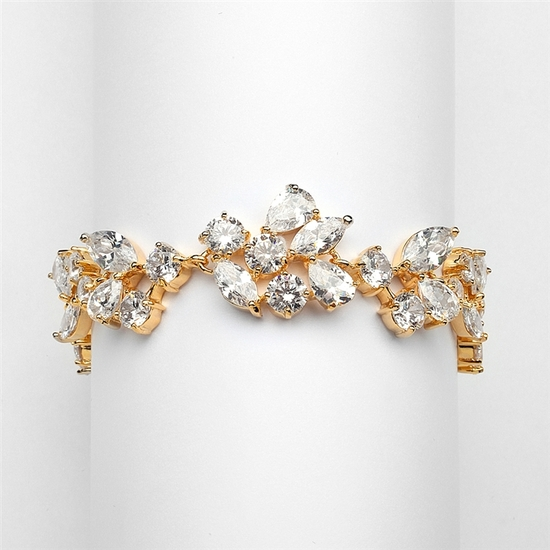 Mosaic Shaped CZ Wedding Bracelet in 14K Gold Plating