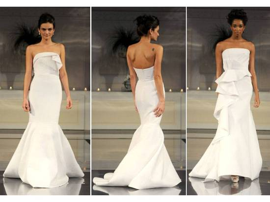 Strapless white mermaid Angel Sanchez wedding dress with ruffle detail