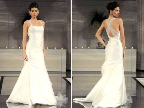 Classic ivory mermaid wedding dress with halter neckline and illusion straps