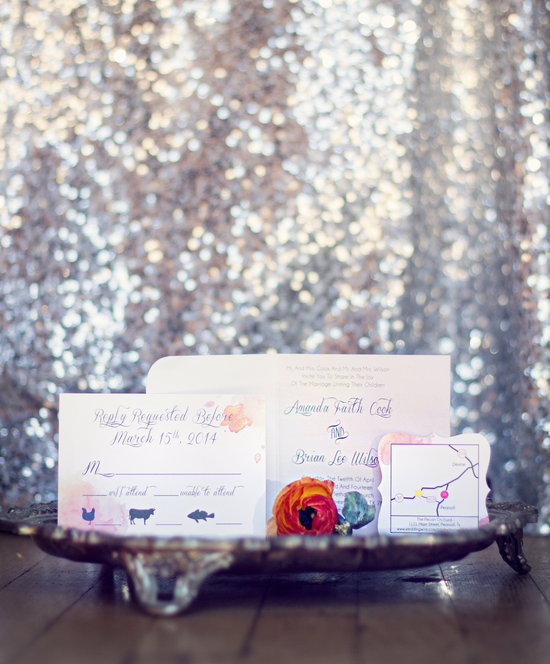 Water Color Inspired Wedding Invitation Suite—Die Cut