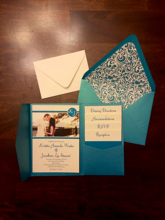 Pocket Invitation in Teal with 4 Inserts