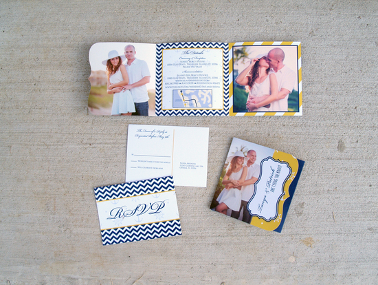 Nautical Themed Wedding Invitation in Navy and Yellow