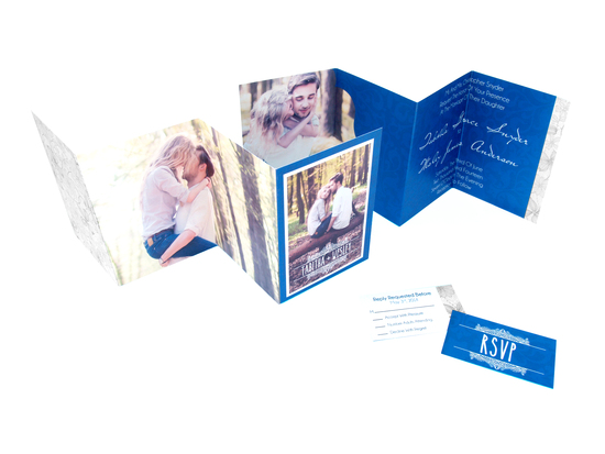 Accordion Fold Wedding Invitation in Navy
