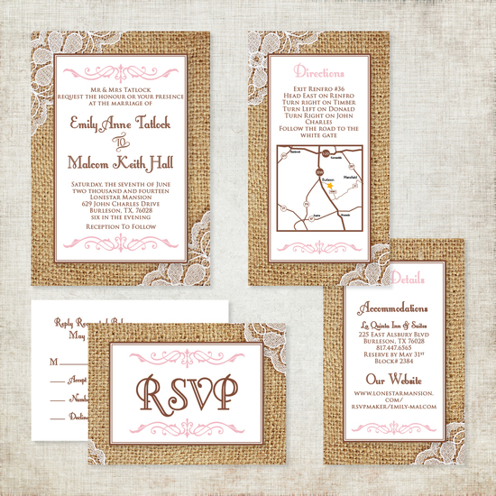 Burlap and Lace Wedding Invitation with Pink Accents