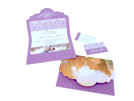 Die Cut Wedding invitation in Purple with Lace