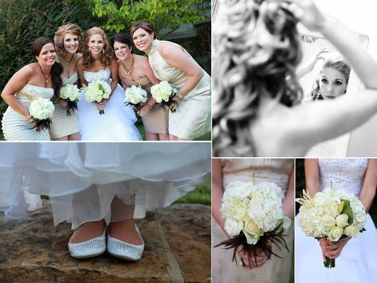Bride wears strapless corset wedding dress, bridesmaids wear mix n match metallic dresses