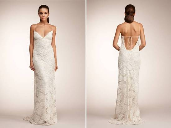 Vintage-inspired ivory silk sheath wedding dress by Monique Lhuillier