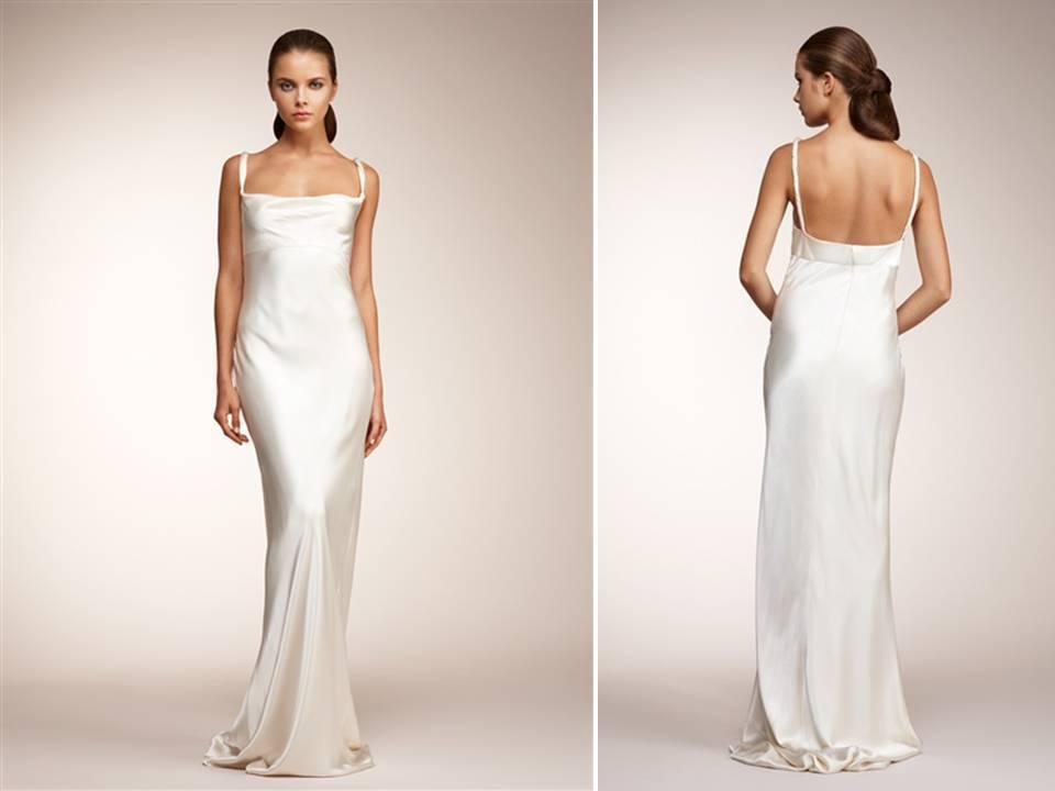 Vintage-inspired ivory silk sheath wedding dress by Monique Lhuillier