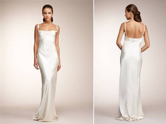 photo of Monique Lhuillier ivory sheath wedding dress