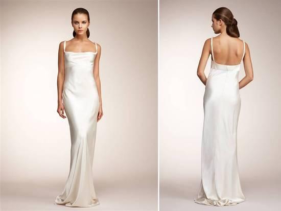 photo of Monique Lhuillier ivory sheath wedding dress