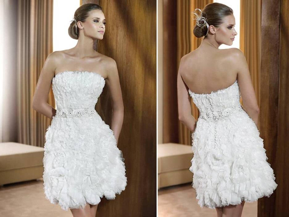 White wedding reception dress with illusion fabric for bateau neck ...