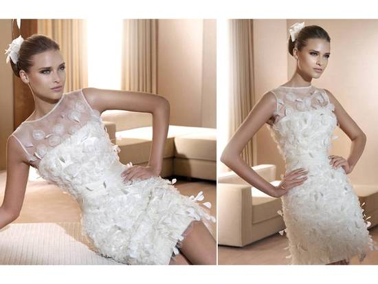 Romantic white bateau neck wedding reception dress with illusion fabric and floral applique