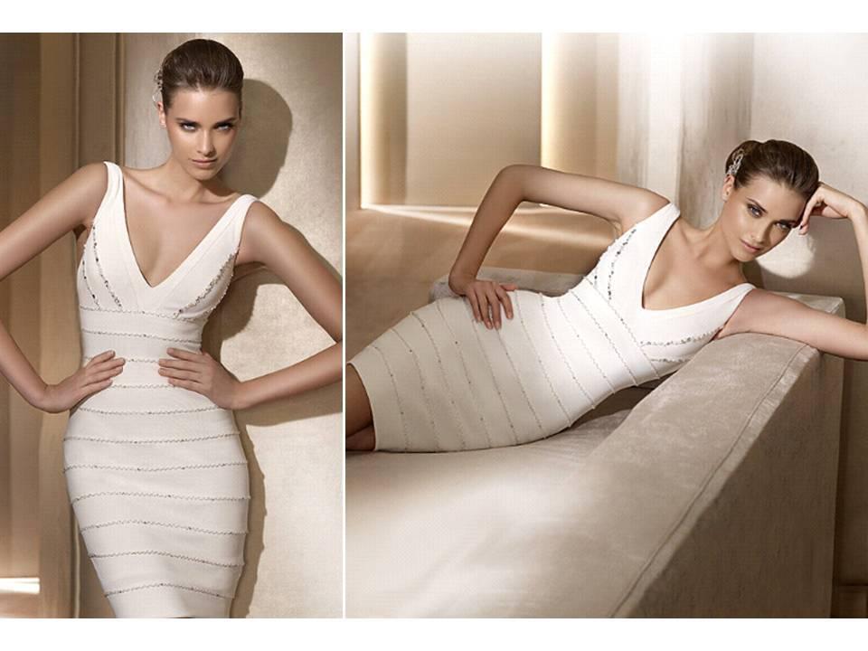 Pronovias-wedding-dresses-2011-city-above-the-knee-herve-leger-inspired-v-neck-white-reception-dress.full