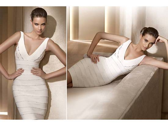 V-neck white Herve Leger-inspired Pronovias Little White Dress, wedding reception dress