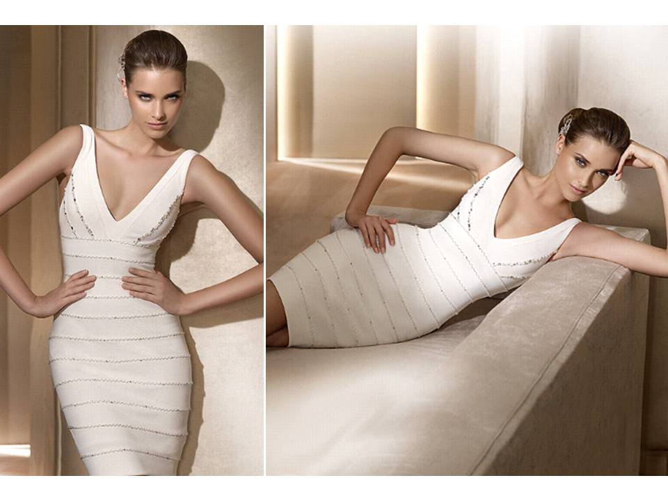 Pronovias-wedding-dresses-2011-city-above-the-knee-herve-leger-inspired-v-neck-white-reception-dress.original