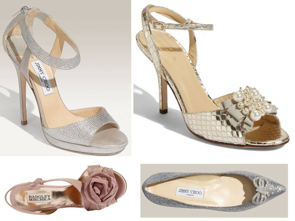 Silver Jimmy Choo Bridal Heels With Ankle Strap Gold Metallic Peep Toe Kate Spade