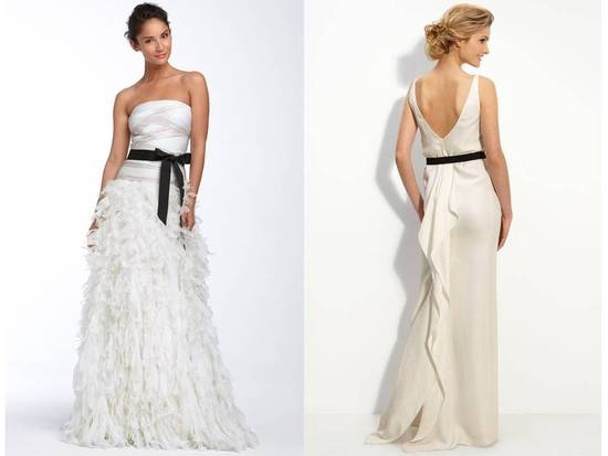 Gorgeous, modern designer wedding dresses with black bridal sashes