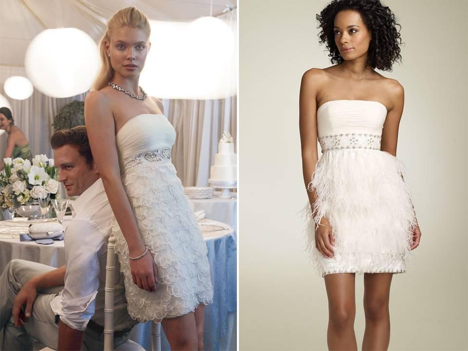 Short white strapless wedding reception dresses by sue for Dresses for reception weddings