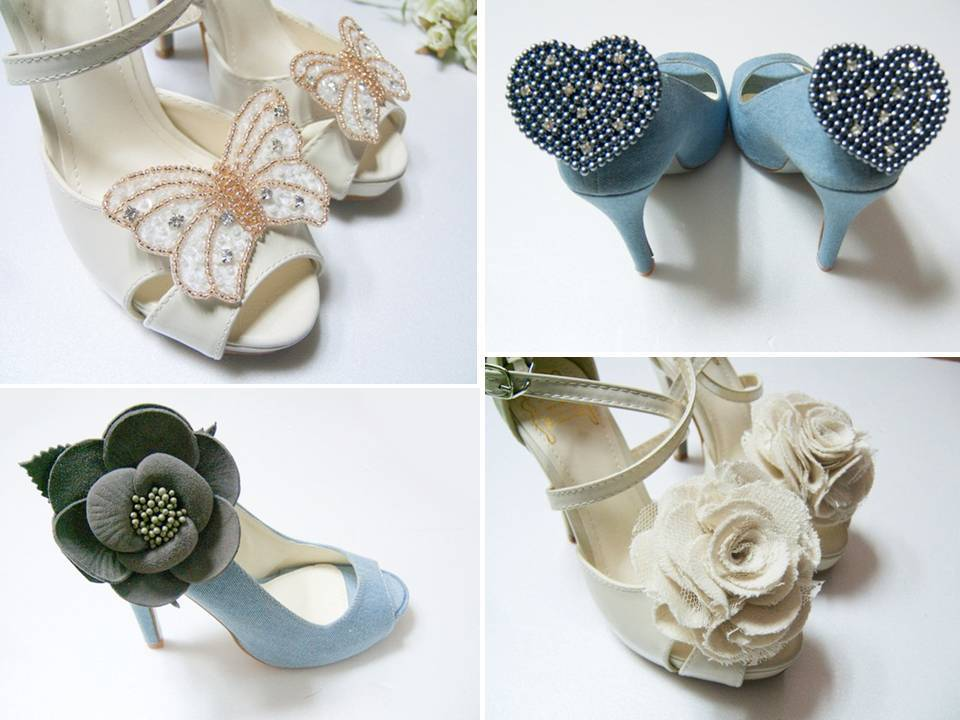 Add flair to your classic bridal heels with chic bridal shoe clips!