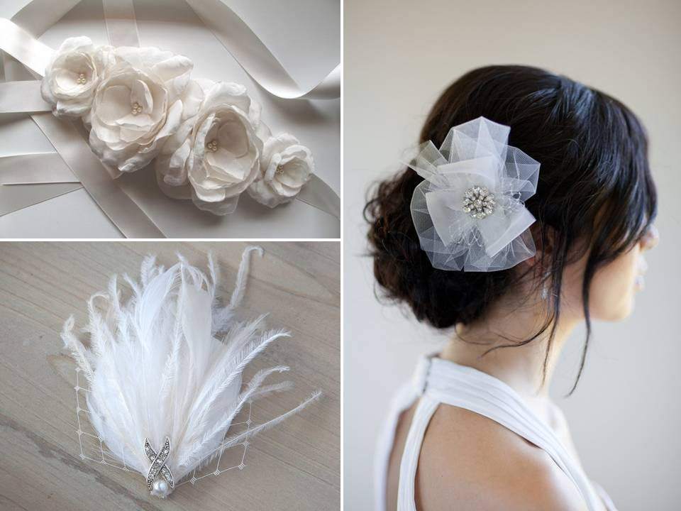 Vintage-inspired feather fascinator and bridal hair flower; gorgeous ivory bridal sash