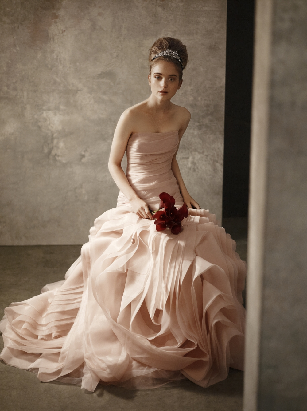 Blush pink strapless bridal gown from white by vera wang for Vera wang used wedding dress