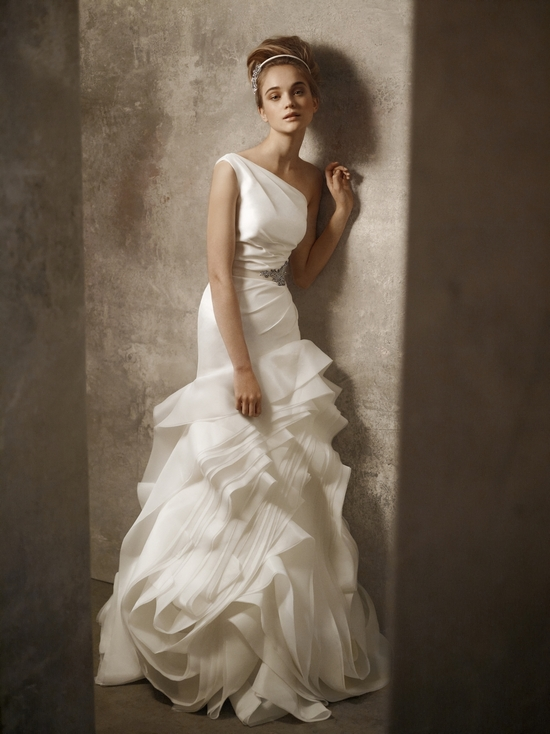 One-shoulder ivory drop waist wedding dress by White by Vera Wang