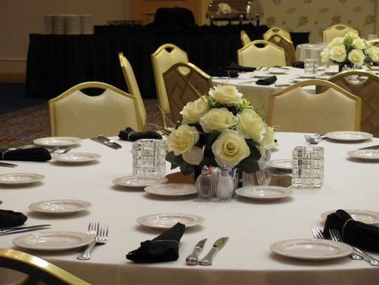 1037 Guest Table Centerpieces  with silk ivory roses 2