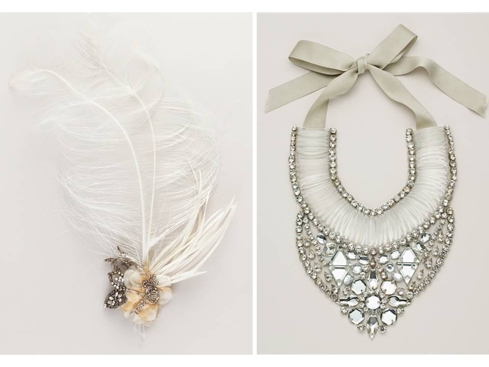 Gorgeous feather hair flower and statement bridal necklace