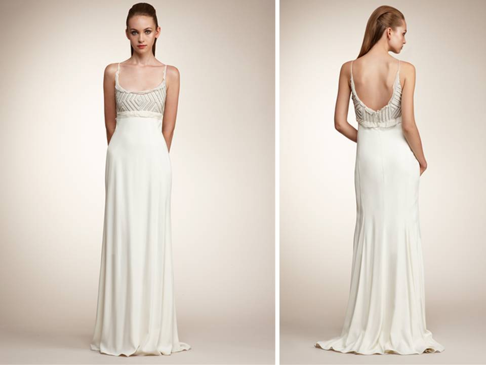 Sheath style angel sanchez wedding dress with open scoop back for Scoop neck sheath wedding dress