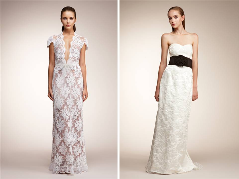 White Lace V Neck Wedding Dress And White Brocade Column Gown With