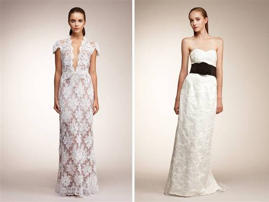 White lace v-neck wedding dress and white brocade column gown with black sash